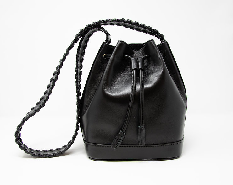 Medium Bucket Bag- Black Calfskin