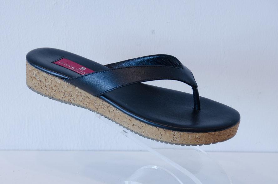 Leather Flip Flop- Black