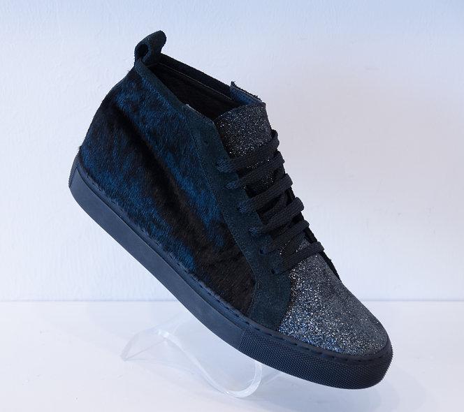 High Sneaker- Black Cavallino