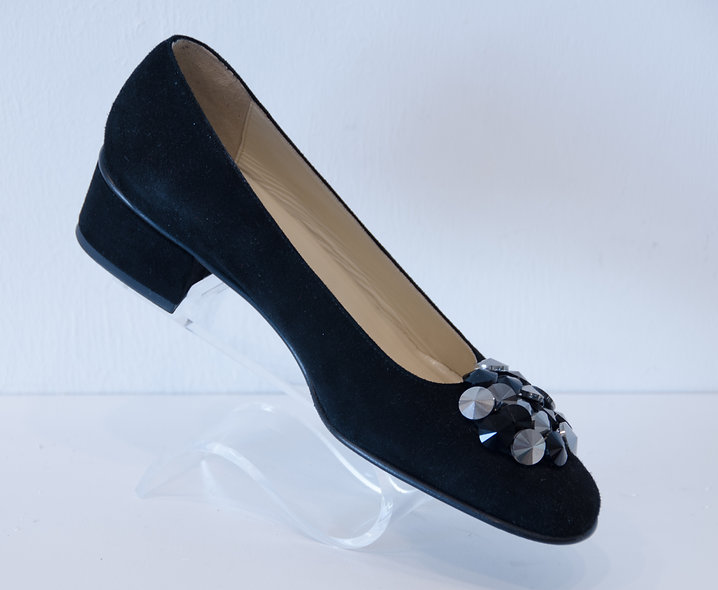 Kitten Block Heel- Black Suede