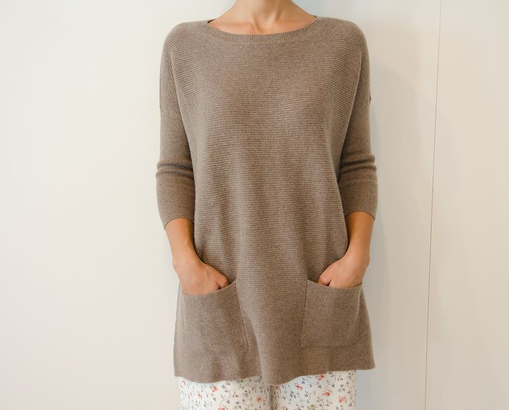 The Pocket Sweater- Taupe