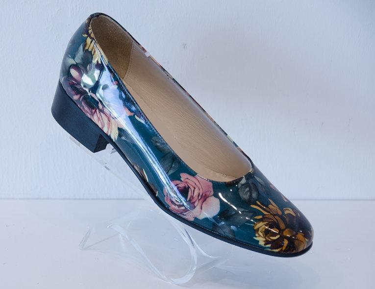 Ballerina Block Heel- Patent Floral