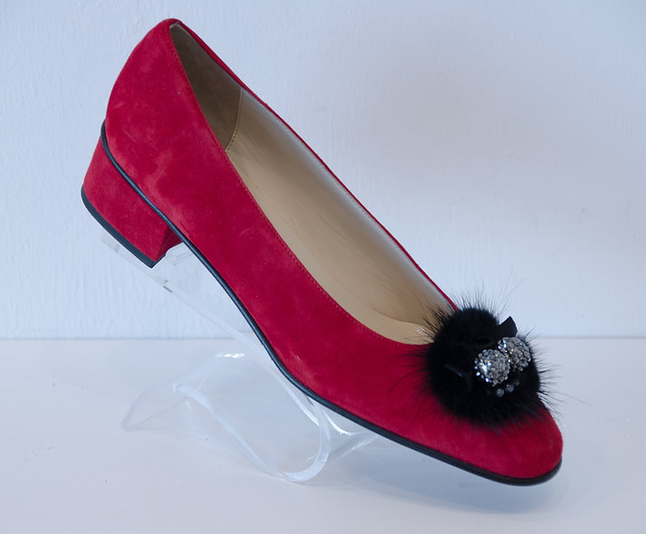 Kitten Block Heel- Red Suede