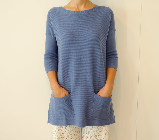 The Pocket Sweater-Jean Blue