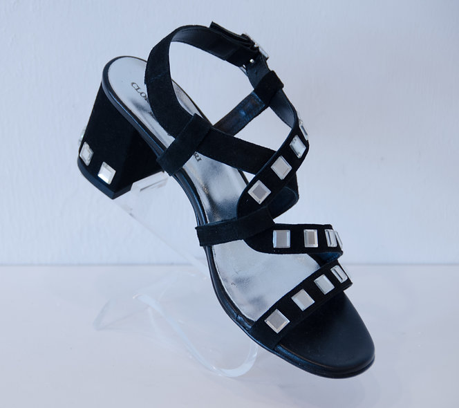 Mirror Sandal- Black Suede