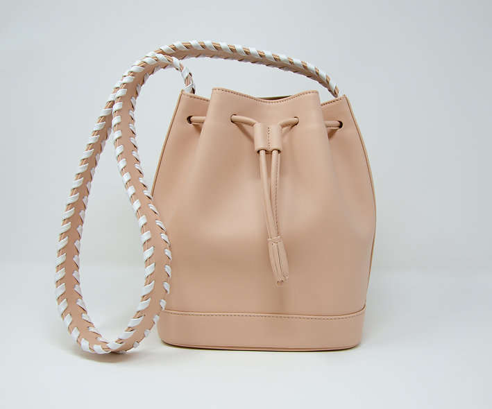 Medium Bucket Bag- Nude Calfskin