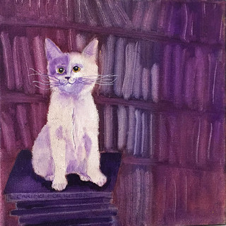 Bookstore Cat Purple