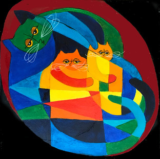 Cubist Mom & Kittens