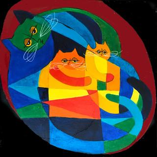 Cubist Mom & Kittens