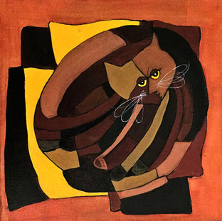 Cubist Cat Browns