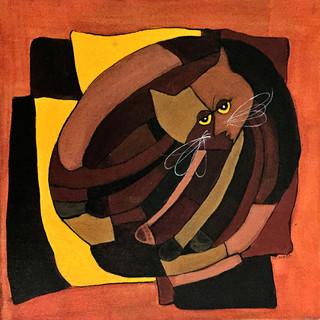 Cubist Cat Browns