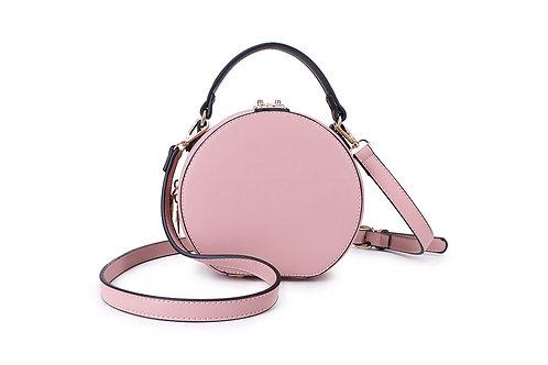 Round Hat Box in Blush Pink / Nude .