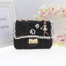 Black Cute tweed bag with hand and shoulder gold chain.