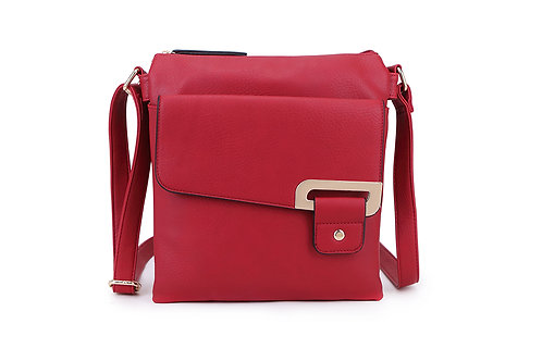 Crossbody with buckle design . Red.