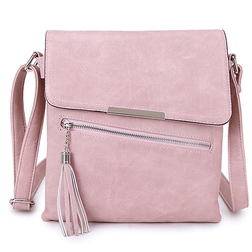 Crossbody square bag in Blush Pink .( Nude)