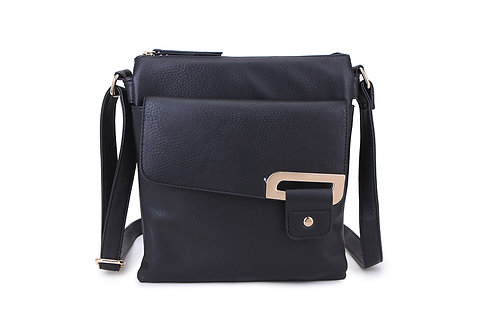 Crossbody with buckle design . Black.