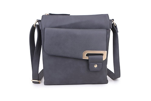 Crossbody with buckle design . Dark Grey.