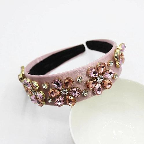 Jewelled headband. Pink/Rose Gold