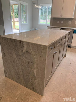 The Parkview - Kitchen Island with Granite Waterfall