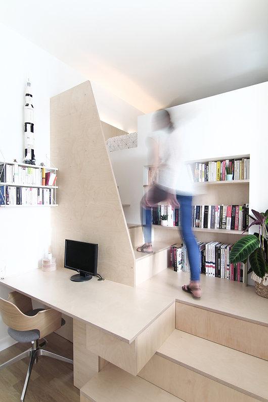 January architecte d'intérieur Bordeaux Aménagement sur mesure Bureau Mezzanine Bouleau
