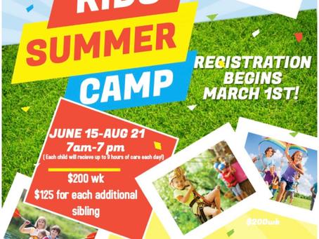Summer Camp Registration Begins March 1st