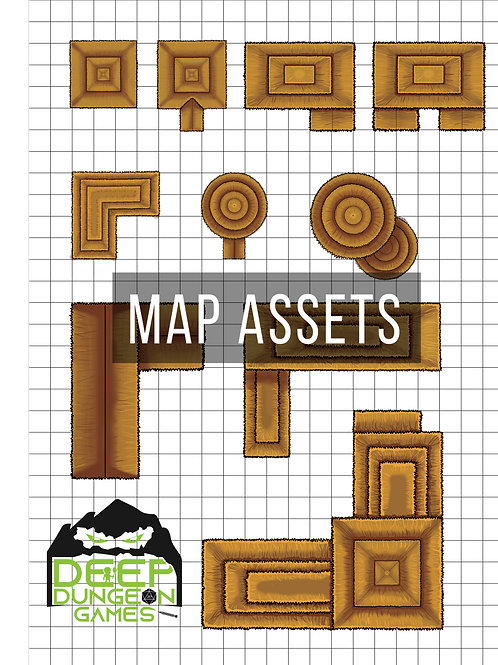 Brown Thatched Roof Building Map Assets