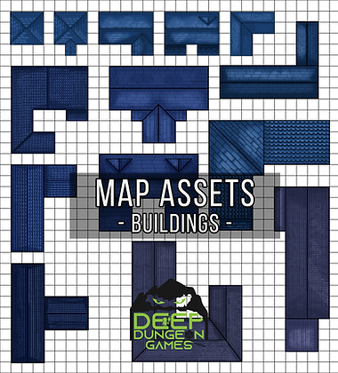 Blue Wood Roof Building Map Assets