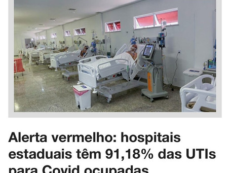 Hospitais estaduais tem mais de 90% das UTis ocupadas