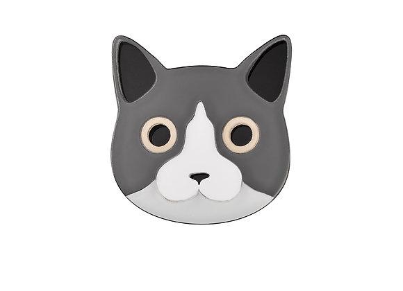 Брошь Серый Кот