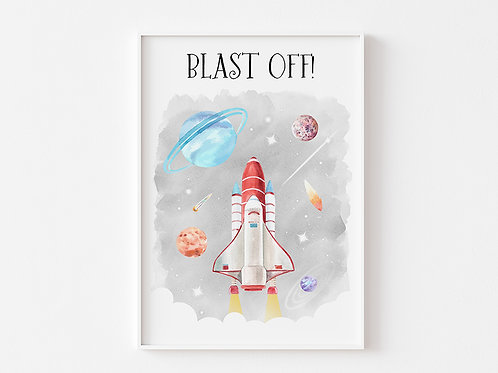 Blast Off!   Rocket and Space Theme Print