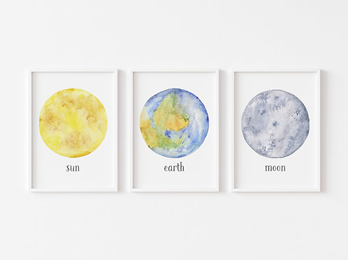 Sun, Moon and Earth | Set of 3 Solar System Prints