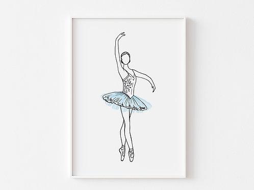 Blue Ballerina Print  | Ballet Theme