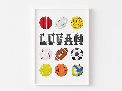 Personalised Sports Ball | Sports Theme Print