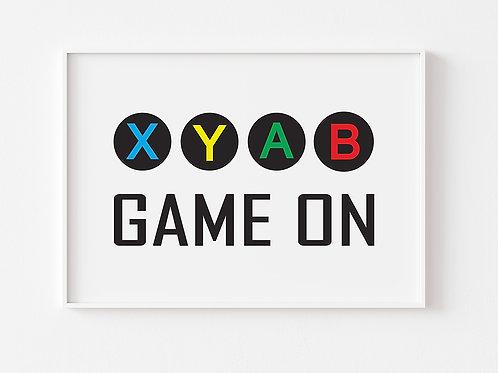 Game On    Gaming Theme Print   Xbox   Horizontal