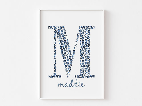 Blue Leopard Print Initial   Personalised
