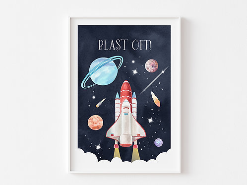 Blast Off! | Rocket and Space Theme Print | Dark Sky
