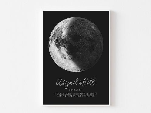 Lunar Night Sky Personalised Print