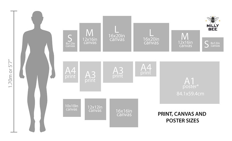 Print, canvas and poster sizes