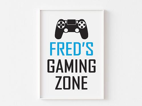 Personalised Game Zone | Gaming Theme Print