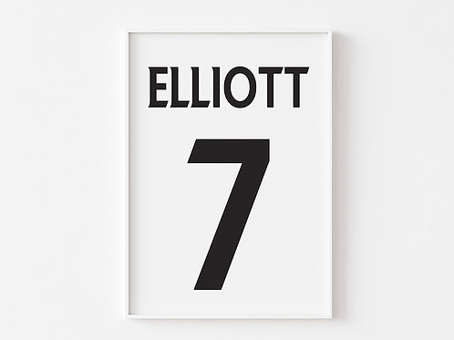 Name & Number  | Football  Theme Print | Monochrome