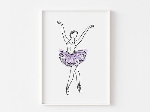 Purple Ballerina Print    Ballet Theme