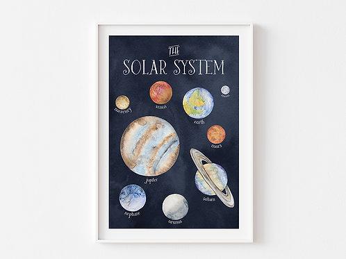 The Solar System | Space Theme Print | Dark Sky