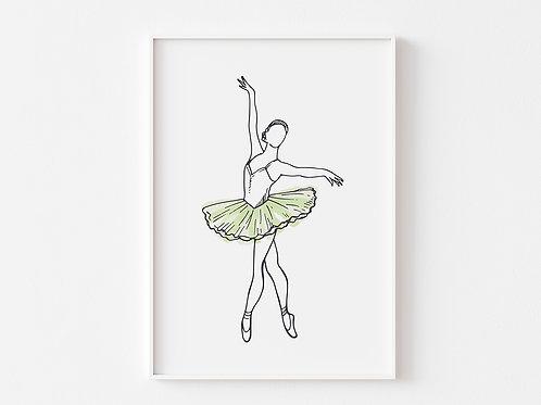 Green Ballerina Print  | Ballet Theme