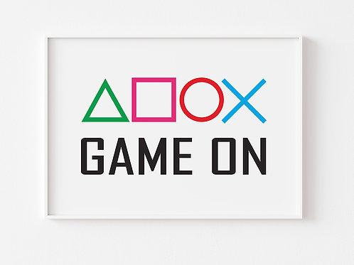 Game On  | Gaming Theme Print | Playstation | Horizontal