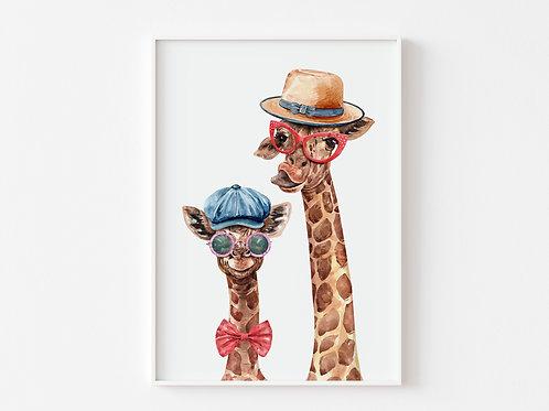 Hipster Giraffes Watercolour