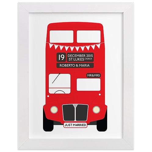 Personalised Wedding Bus Print
