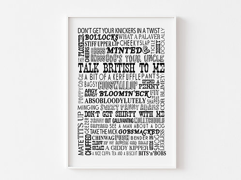 Very British Words and Phrases | Typographical print