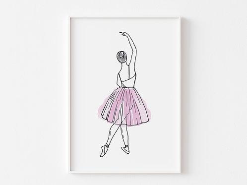 Pink Ballerina Print    Ballet Theme