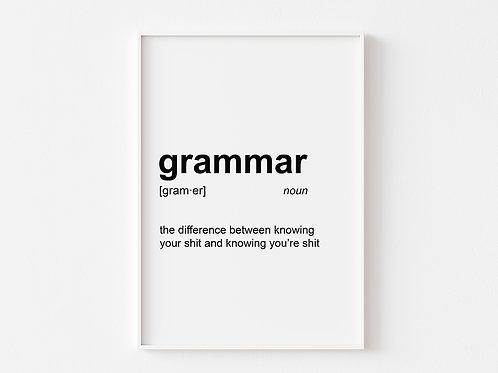 Grammar | Dictionary Definition Print
