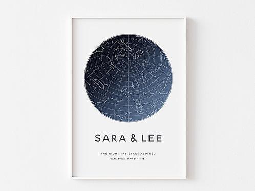 Constellations Night Sky Personalised Print